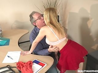 Youthful Blonde Jiggles A Senior Dick In Her Lil' Labia