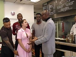 A Few Black Studs Fuck All Crevasses Of Sweet Looking Waitress Elektra Rose