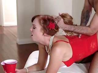 Red-haired Honey In Sexy Undergarments Railing A Decent Dick