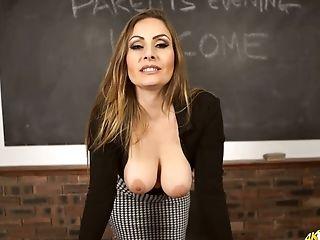 Crimson Haired Schoolteacher Sophia Delane Shows Off Her Boobies