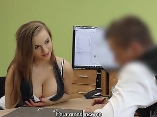 Buxom Stunner Gets Fucked On Table Of Loan Manager For Cash