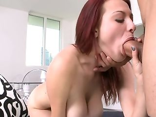 Man Behind The Camera Shoves Stiffy In Buxom Teenage's Mouth