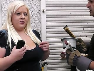 Horny Chubby Blonde Takes It From Behind
