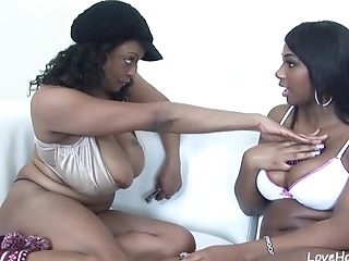 Two Chubby Black Honies Are Being Perverted Together