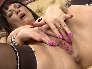 Dark Haired Matures Marie-christine Chireix Enjoyments Her Gash