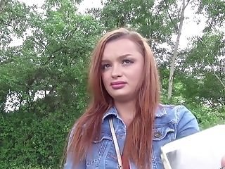 German Scout - Red-haired Daphne Rough Public Casting Fornicate