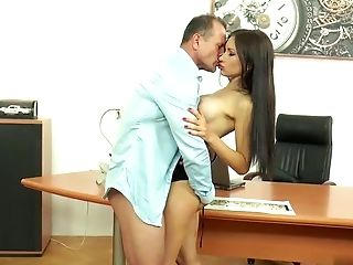 Dark Haired Sasha Rose Has Buttfuck With Her Chief
