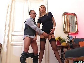 Blonde Stockinged Fledgling Wanks Big Dick