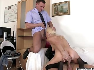 Very Old Blonde Granny Railing And Sucking