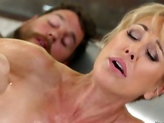 Stunning All Lubricated Bodacious Cougar Brandi Love Gets Poked Rear End During Rubdown