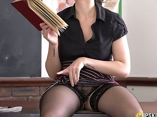 Serious Instructor Charlie Rose Spreads Gams Broad And Shows Underpants Upskirt