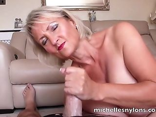 Insatiable Michelle Wanks A Hard Manhood Until He Cums In Her Palm