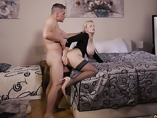 Big-titted Blonde Mummy Angel Wicky Gets Jizm All Over Her Meaty Tits
