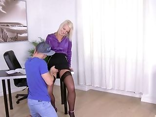 Blonde Cougar Bitch Luci Angel Deepthroats And Rails A Hard Penis At Home