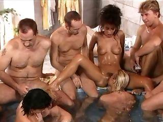 Radiant Honies Lovin' Getting Their Twats Finger-tickled In A Steamy Orgy At The Pool