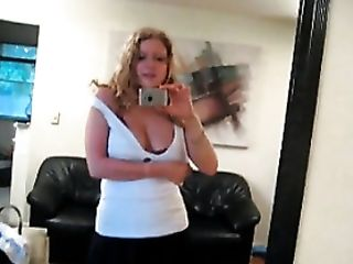 Curly Hair Doll In Mini-skirt Strips In Mirror