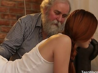 Nubile Vixen With Ponytails Charli Crimson Poon Pounded By A Grand-pa