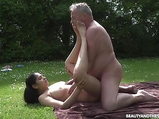 This Hot Youthfull And Old Venture Comes To An End When He Cums On Her Tits