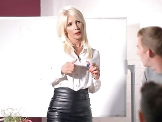 Student Can't Believe That Hot Educator In Leather Microskirt Entices Him