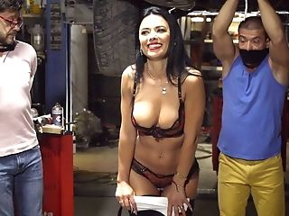 Strapped Blokes Witness Scrumptious Shalina Devine Get Fucked In A Garage