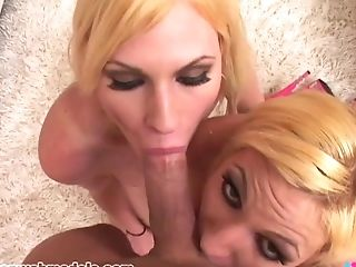 Blonde Twin Sisters Take Turns Sucking A Lengthy Spunk-pump