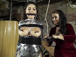 Female Dom Movie With To Huge-titted Brunettes - Restrain Bondage And Torture