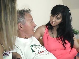 Old Grandfather Fucks Beautiful Teenagers In Hot Threesome
