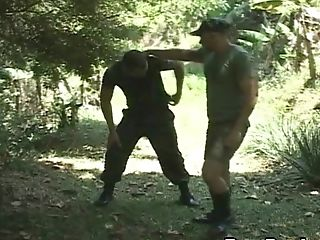 Military Fag Guys Fuck On A Field Mission In The Forest