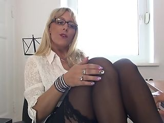 Nerdy Matures Blonde Lana Vegas Oils Herself Up At The Office