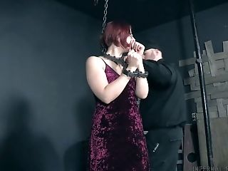 Tied Up Chubby Chick Kel Bowie Gets Her Muff Disciplined In The Dark Room