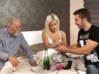 Lewd Bearded Mate Lets Older Man Please His Own Slender Gf Ria Sun