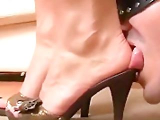 Tongue Under Mistress Foot