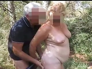 Older French Duo Fucking In The Forest