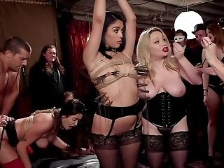 Subordinated Bitches Are Fucked During Wild Sadism & Masochism Orgy In A Club