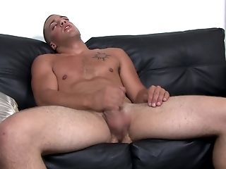 Fit Blonde Fag Boy Masturbates And Cums Solo On The Couch