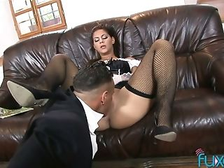 Horny Tall And Sexy Maid Gets Her Brown Sphincter Violently Pulverized By Lewd Host