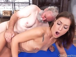 Old Fart Has The Honor To Fuck Lovely Crimson Haired Nubile With Supah Taut Cunt