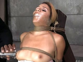 Horny Slaved Maiden In Restraint Bondage Yelling While Her Rump Is Spanked In Domination & Submission Seen