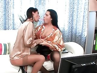 Lesbos In Satin Half-top Have A Sixty Nine With Fucktoys