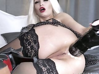 Lots Of Thick Fake Penises Are Used By Perverted Blonde Whore In Black Stuff Ksucolt