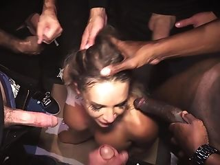 A Chick Is Sucking A Few Fuck-sticks At The Same Time In A Gang-bang