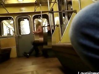 Horny Unexperienced Duo Fuck On The Public Train