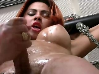 Sandy-haired Shemale Is Very Thrilled To Spank Her Salami Hard