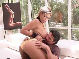 Huge-chested Blonde Bridgette B. Takes A Fat Dick In Her Mouth And Vulva