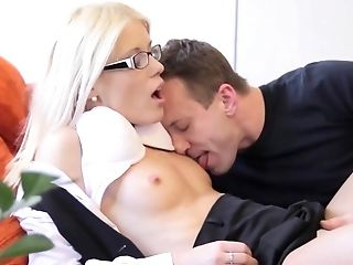 Nerdy Blonde Lady Gets Fucked By Her Horny Man