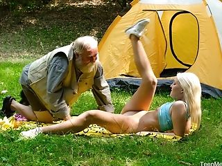 Horny Blonde Lovita Fate Adores Fucking With Her Older Friend In Nature