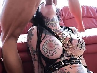 Five Studs Are Demolishing One Tattooed Honey With Their Hard Hard-ons
