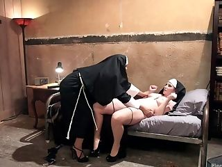 Mia Little And Sophia Locke Clothed As Nuns Have Torment Session