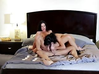 Two Black-haired Darlings Called Over Their Chap For Some Sexual Joy