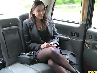 Dark Haired Chick Sensuous Jane In Stockings Gets Fucked By The Cab Driver